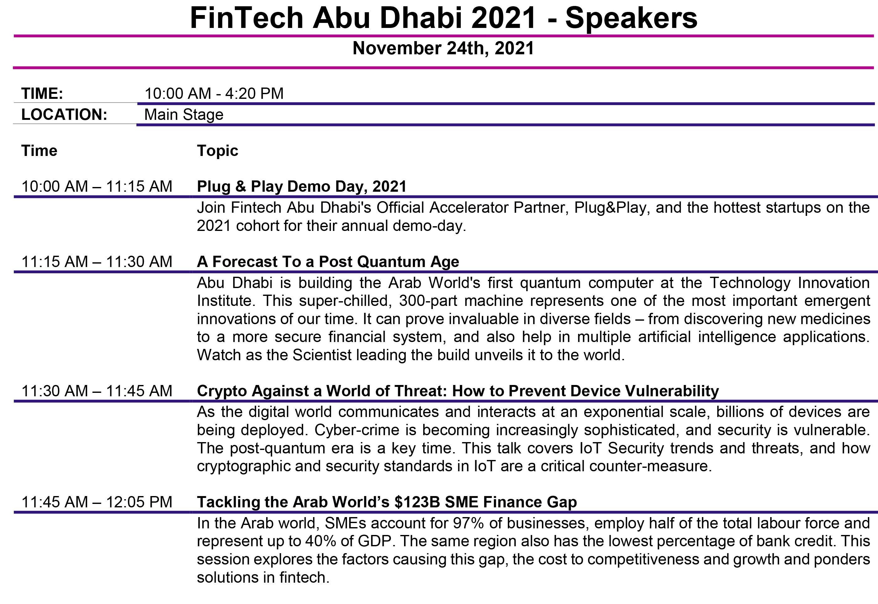 Fintech Abu Dhabi Agenda